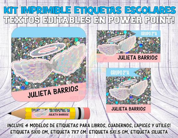 Kit Imprimible Etiquetas Escolares Alas Angel S20