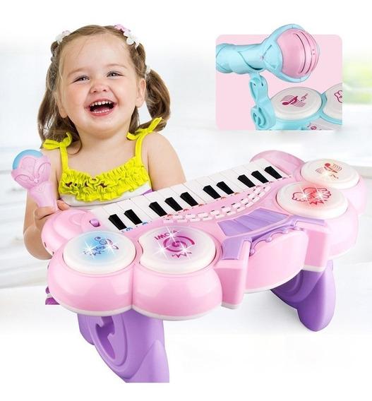 Teclado Piano Infantil Sinfonia Com Bateria Gravador Luz Ros