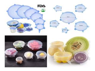 6 Tapas Hermetica Silicon Extensible Reutilizable Comida