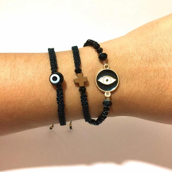 Pulseras Amuletos Ojo Turco Negro Accesorios Bisutería Moda
