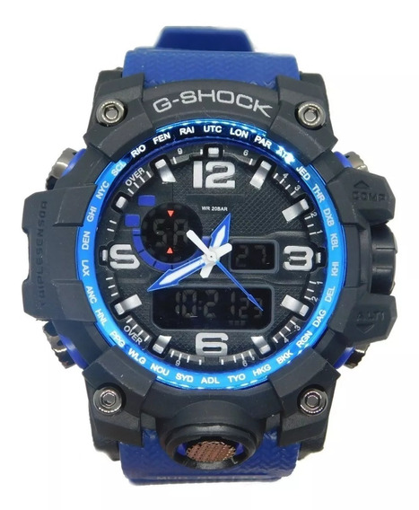 Relógio Masculino Azul Novo Anti Shock Digital + Caixa