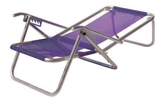 Cadeira De Praia 5 Pos. Xl 130 Kg C/ Apoio Roxo - Botafogo