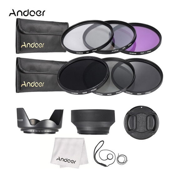 Andoer 77mm Kit Filtro De Lente Uv+cpl+fld+nd (nd2 Nd4 Nd8)