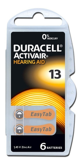 6 Baterias Pilhas Aparelho Auditivo Duracell 13 Pr48