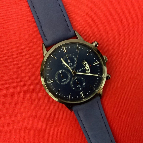 Relógio Masculino Pulseira Couro Azul Quartzo Bom E Barato