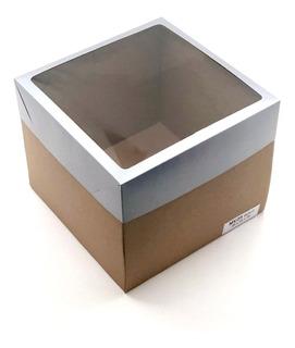 20 Caixas (25x25x20cm) Micro Ondulado Visor - Bolo Decorado