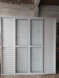 Porta Balcão 6 Folhas 210x200 L-25 Alumínio Branco