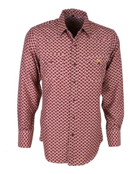 Camisa Vaquera Icy Denver Chh015 Rojo Con Print
