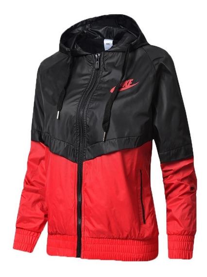 Jaqueta Feminina Corta Vento Nike Preta Vermelha