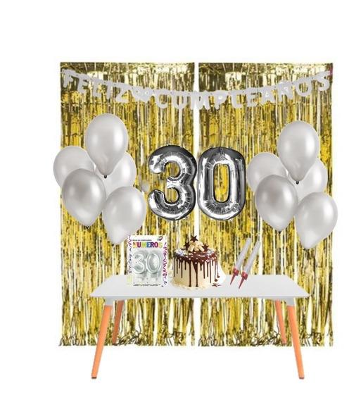 Kit Cumpleaños En Casa - Decoración Cumple Virtual - 30 Años