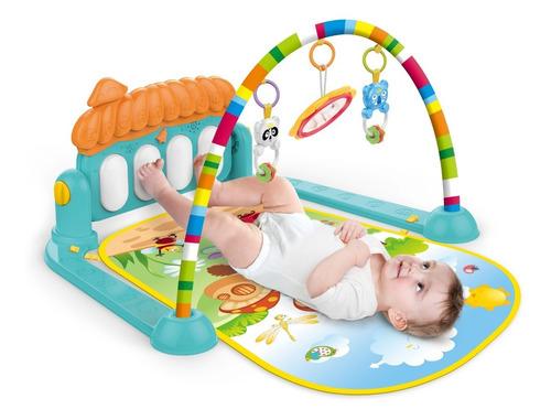 Tapete Ginásio Atividades Bebê Mobile E Piano Musical - Azul