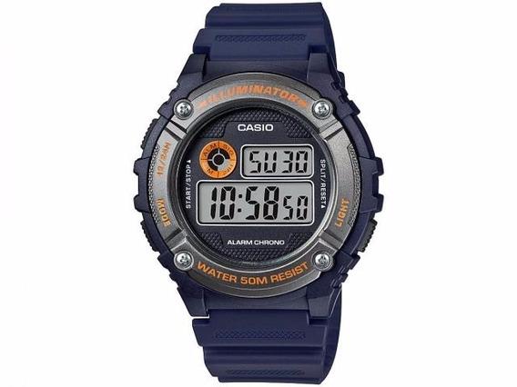 Relógio Masculino Digital Casio Borracha Azul Escuro Crono