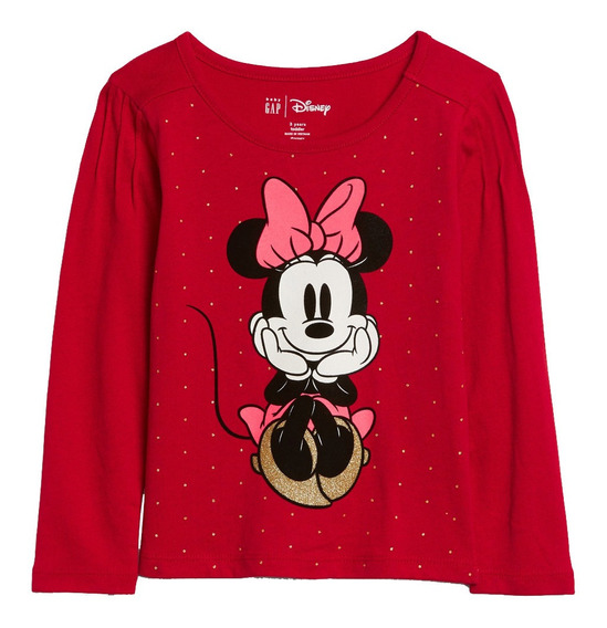 Playera Bebé Manga Larga Niña Disney Minnie Mouse Suave Gap