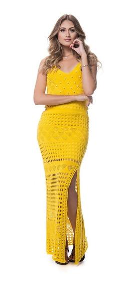 Vestido Trico Longo Fenda Amarelo Festa Verão 2020