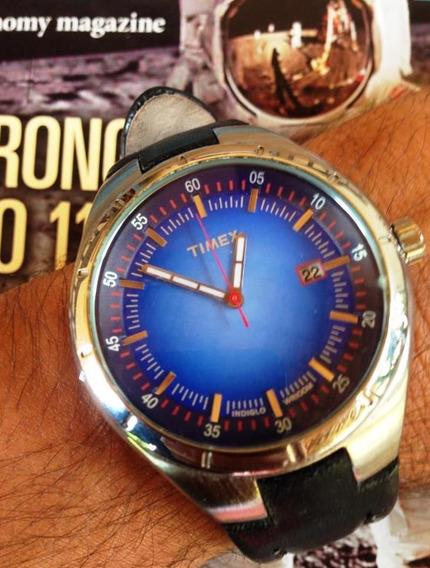 Relogio Timex Retrô - Lindo Azul - Raro - 100m - Indiglo