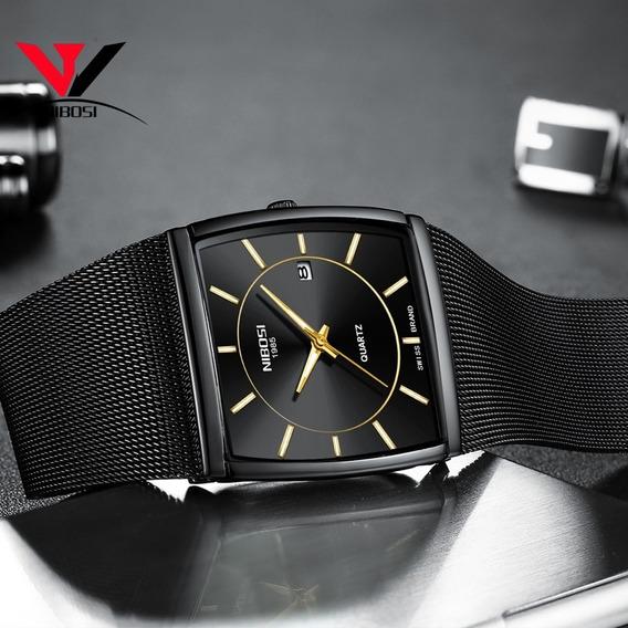 Reloj Pulsera Nibosi Impermeable De Cuarzo Negro Para Hombre