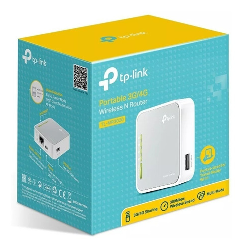 Mini Roteador Wi-fi Tp-link Tl-mr3020 Portátil 3g/4g 150mbps