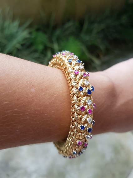 Pulseira Ouro 18 K Com 22 Diamantes