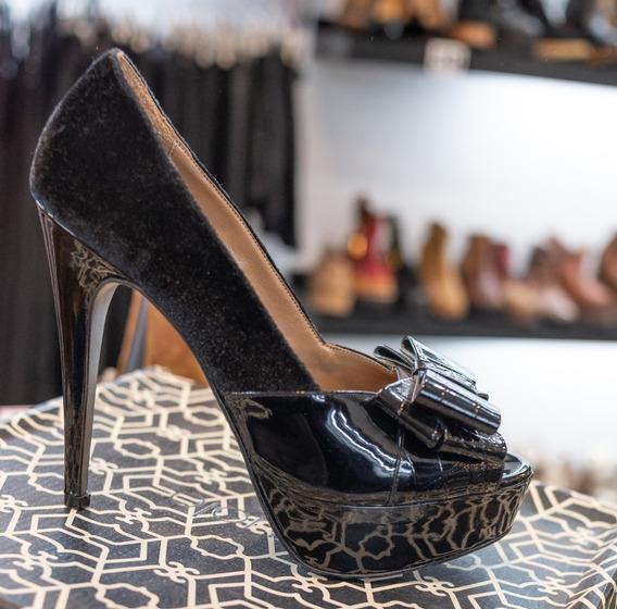 Zapatos Stilettos Paruolo Gamuza Y Cuero Moño