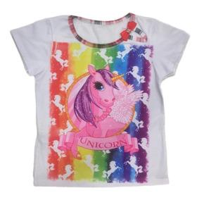 04 Camiseta Blusa Infantil Menina Roupas Feminina Atacado