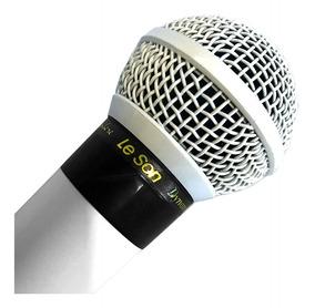 Microfone Profissional Com Fio Cardióide Leson Sm58 P4 Branc