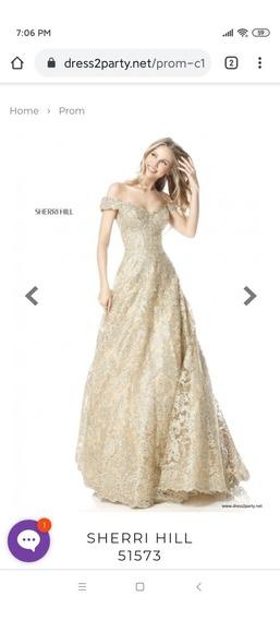 Vestido Largo Sherri Hill, Modelo 51573 Dorado