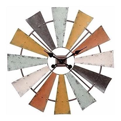 Reloj Pared Cuarzo Molino De Viento Metal Multicolor 29pulga