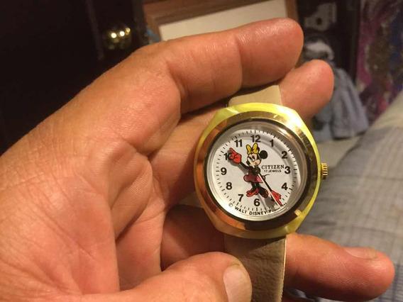 Reloj De Mini Mouse De Cuerda De Los 70s,vintage Citizen