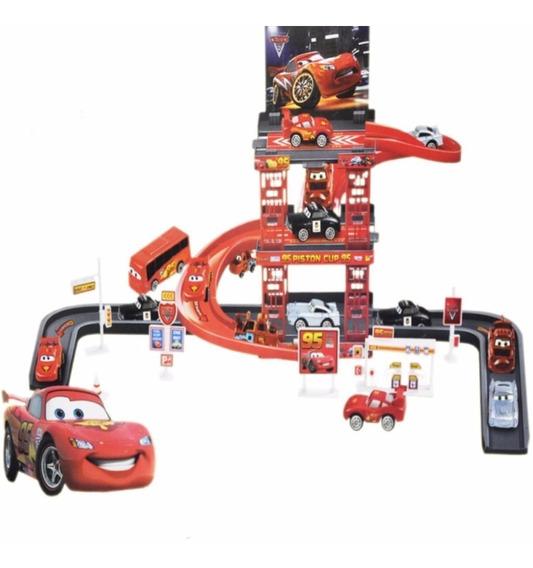 Pista Garagem Carros Disney Mcqueen 41 Pçs+ 5 Carros