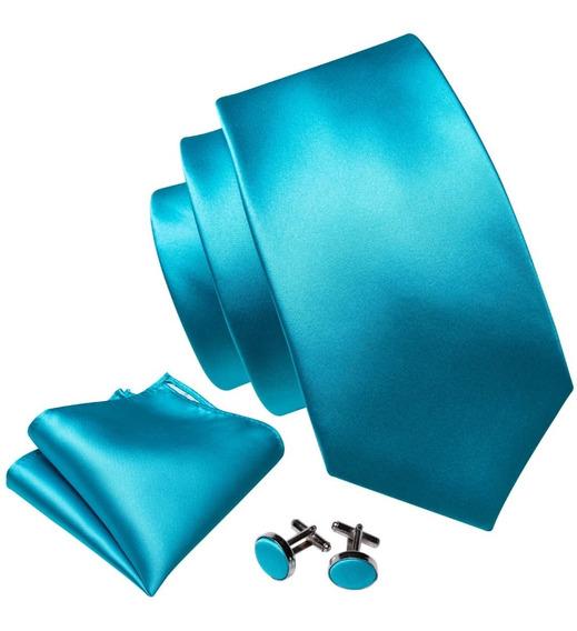 B5255 Seda   Corbata Pañuelo Mancuernillas   Azul Turquesa