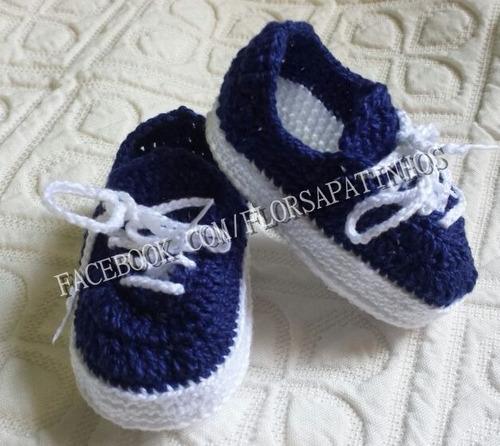83516909d0 Sapatinho Em Crochê Para Bebê Modelo Tênis Vans - R$ 40,00 em ...