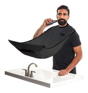 Capa Para Afeitar Shoppy Apto Para Barba Con Sopapas Para Espejo Afeitadora Barbero Color Negro Accesorio Para Baños