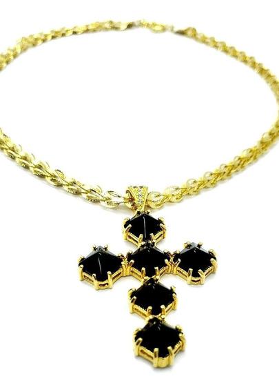 Cordão E Crucifixo Carré Preto Ônix Banhados Ouro 1147 2251