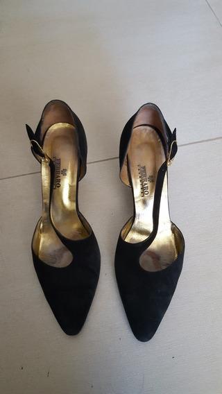 Zapatos Ferraro De Gamuza Negra - Hermosos!!!