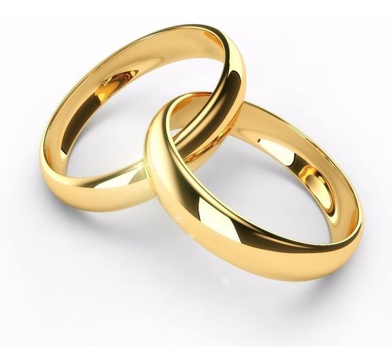 1 Alianças Ouro 18k Banhada Casamento 4mm
