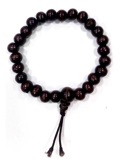 Pulseira De Madeira Escura 6 Mm E 26 Contas Meditação Oração