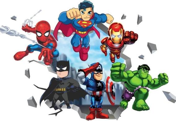 Adesivo De Parede Heróis Baby Vingadores Liga Da Justiça