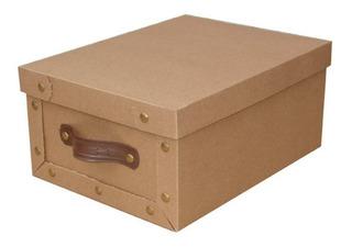 Caja Baulera Mediana 39x30x18cm Manija Cuero Kraft