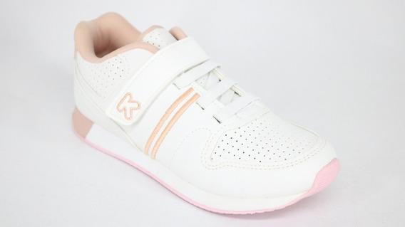 Tênis Klin Infantil Casual Elástico Velcro Branco