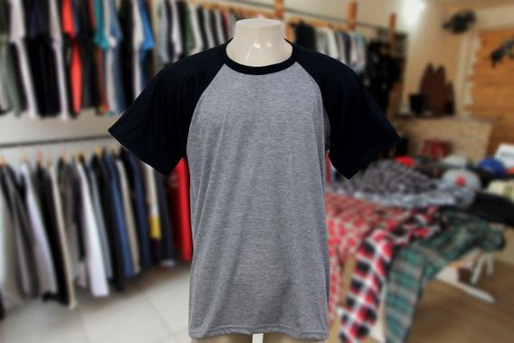Camisa Mescla Com Manga Preta 100% Poliester- Lote 10 Peças