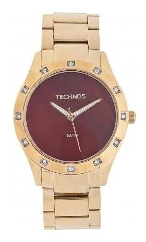 Relógio Technos Feminino Dourado Fundo Madre Pérola 2033ab