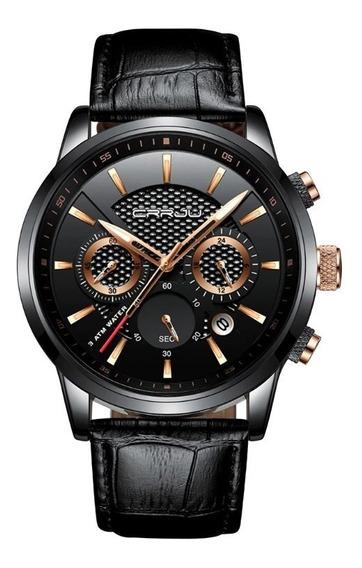 Relógio Masculino Luxo Original Crrju Cronógrafo Aço E Couro