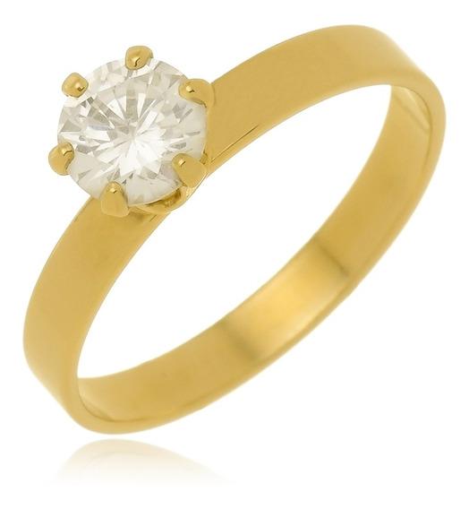 Anel Compromisso Noivado Pedra Zircônia Banhado A Ouro