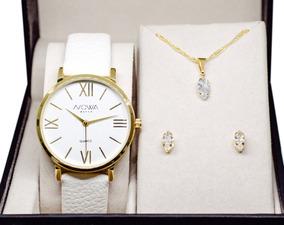 Relógio Nowa Dourado Couro Feminino Nw1405k Kit Brinde