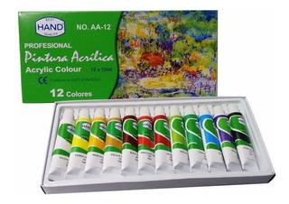 Pinturas Acrílicas Profesional Hand Set 12 Pinturas