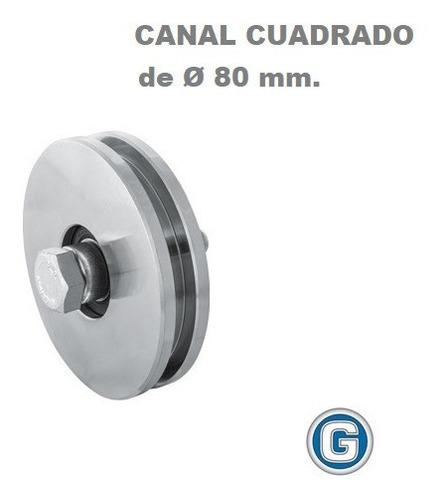 Rueda Acero Canal H Cuadrado U 80 Mm Ruleman Portón Granero