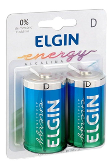 Pilha Alcalina Tipo D Lr20 Grande 1.5v Elgin (cartela C/2)