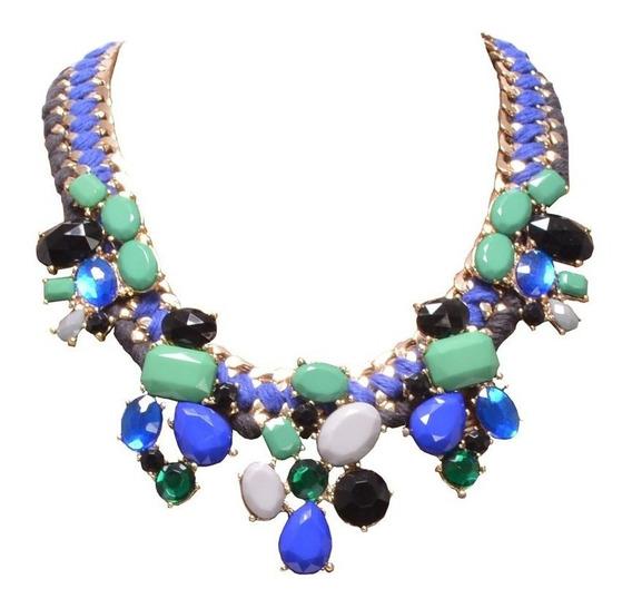Collar Piedras Azul, Blanco Y Jade