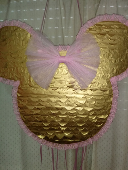 Piñata De Minnie Dorada Y Rosa!!!
