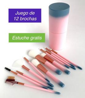 12 Brochas Maquillaje Profesionales Extra Suaves Con Estuche
